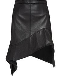 Alexander Wang Leather Asymmetric Skirt - Black