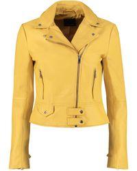 Pinko Sensibile Leather Jacket - Yellow