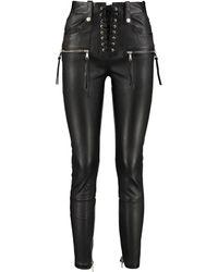 Unravel Project Plonge Leather Trousers - Black