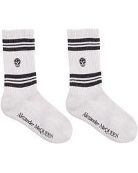 Alexander McQueen Stripe Skull Motif Socks - White