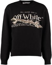 Off-White c/o Virgil Abloh Embroidered Crew-neck Sweater - Black