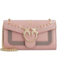 Pinko Leather Wallet On Chain - Pink