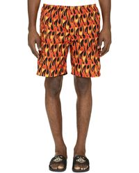 Palm Angels Flames Print Swim Shorts - Orange