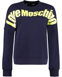 Love Moschino Felpa in cotone con logo - Blu