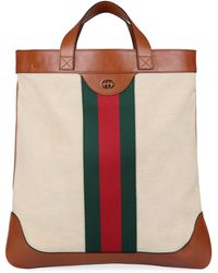 Gucci Smooth Leather And Canvas Tote Bag - Natural
