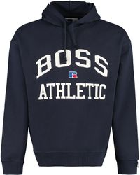 BOSS by HUGO BOSS Logo Detail Cotton Sweatshirt - X Russell Athletic - Blue