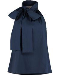MICHAEL Michael Kors Cotton Poplin Top - Blue