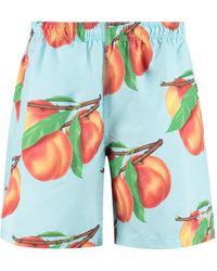 Stussy Shorts da mare Peaches Water stampati - Blu