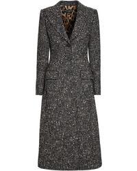 Dolce & Gabbana Cappotto lungo in lana motivo check - Multicolore