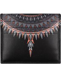 Marcelo Burlon Porta carte di credito portafoglio uomo pelle norwegian wings - Nero