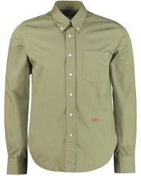 AMI Camicia in cotone con collo button-down - Verde