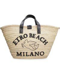 Etro Raffia Handbag - Natural