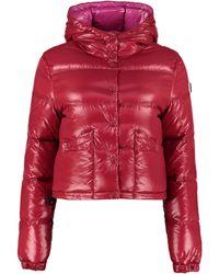 Moncler Piumino con cappuccio e impunture - Rosso
