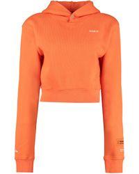 Heron Preston Felpa in cotone con cappuccio e logo - Arancione