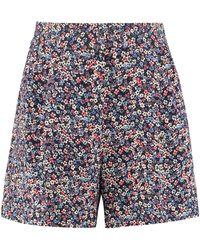 MICHAEL Michael Kors Printed High Waist Shorts - Blue