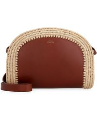 A.P.C. Half Moon Raffia-trimmed Leather Cross-body Bag - Brown