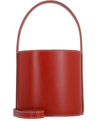 STAUD Bissett Suede And Leather Bucket Bag - Red