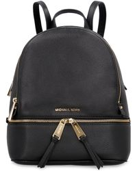 MICHAEL Michael Kors Rhea Leather Medium Backpack - Black