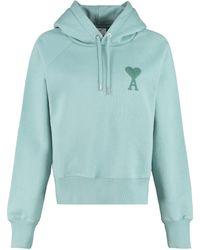 AMI Felpa in cotone con cappuccio e logo - Verde