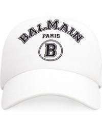 Balmain Cappello da baseball con logo - Bianco