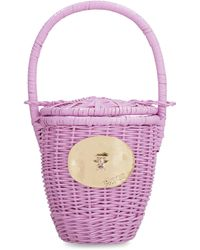 Patou Wicker Basket Tote Bag - Purple