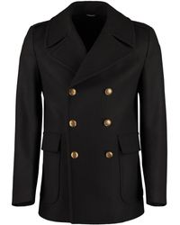 Givenchy Double-breasted Wool Coat - Black