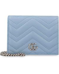 Gucci Wallet on chain GG Marmont in pelle matelassé - Blu