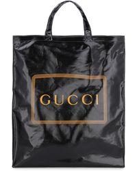 Gucci Borsa Shopping In Tela Spalmata - Nero