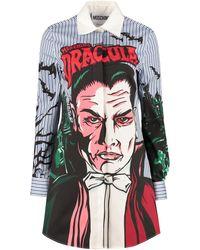 Moschino Monster Dracula Print Stripe Shirt Dress - Blue