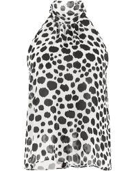 MSGM Blusa in chiffon stampato - Bianco