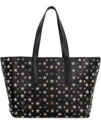 Jimmy Choo Sofia M Star Studs Metallic Mix Tote Bag Shoulder Bag Black Leather