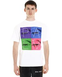 Palm Angels T-shirt in cotone con stampa - Bianco
