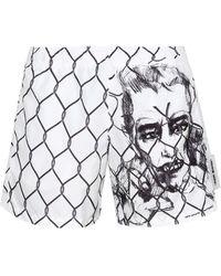 Off-White c/o Virgil Abloh Broken Fence Swim Shorts - White