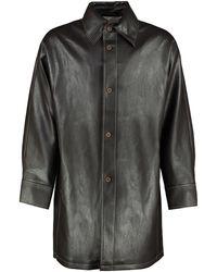Séfr Tricola Faux Leather Coat - Brown