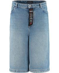 Balenciaga Cotton Denim Bermuda-shorts - Blue