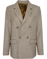 A.P.C. Prune Checked Double-breasted Blazer - Natural