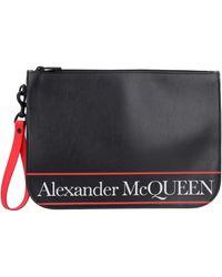Alexander McQueen - Logo Detail Flat Leather Pouch - Lyst
