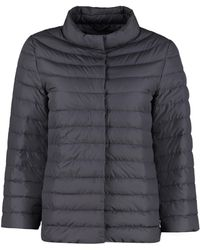 Add Down Jacket With Snap Buttons - Blue