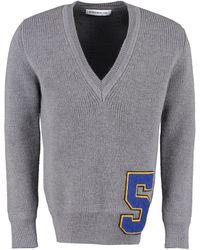 Department 5 Maglione in lana con scollo a V - Grigio