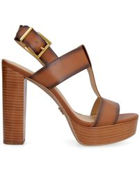 MICHAEL Michael Kors Becker Burnished Leather Platform Sandal - Brown