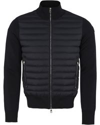 Moncler Cardigan With Padded Frontal Panel - Blue