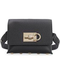 Ferragamo Leather Belt Bag With Logo - Black