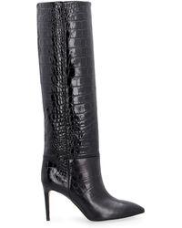 Paris Texas Stivali in pelle stampa coccodrillo - Nero