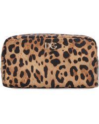 Dolce & Gabbana Leopard Print Nylon Make-up Bag - Brown