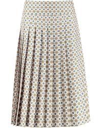 Tory Burch Carmine Printed Silk Pleated Skirt - White
