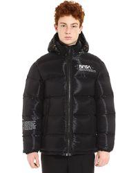 Heron Preston Nasa Space Full Zip Padded Hooded Jacket - Black
