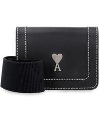 AMI Accordéon Leather Mini-bag - Black