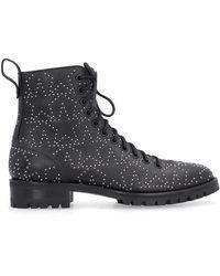 Jimmy Choo Cruz Studded Star Leather Combat Boot - Black