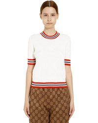 Gucci Gg Web Stripe Wool Blend Short Sleeved Jumper - White