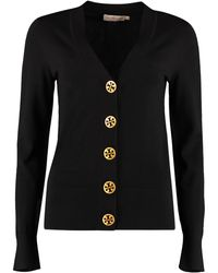 Tory Burch Cardigan Simone in lana merino - Nero